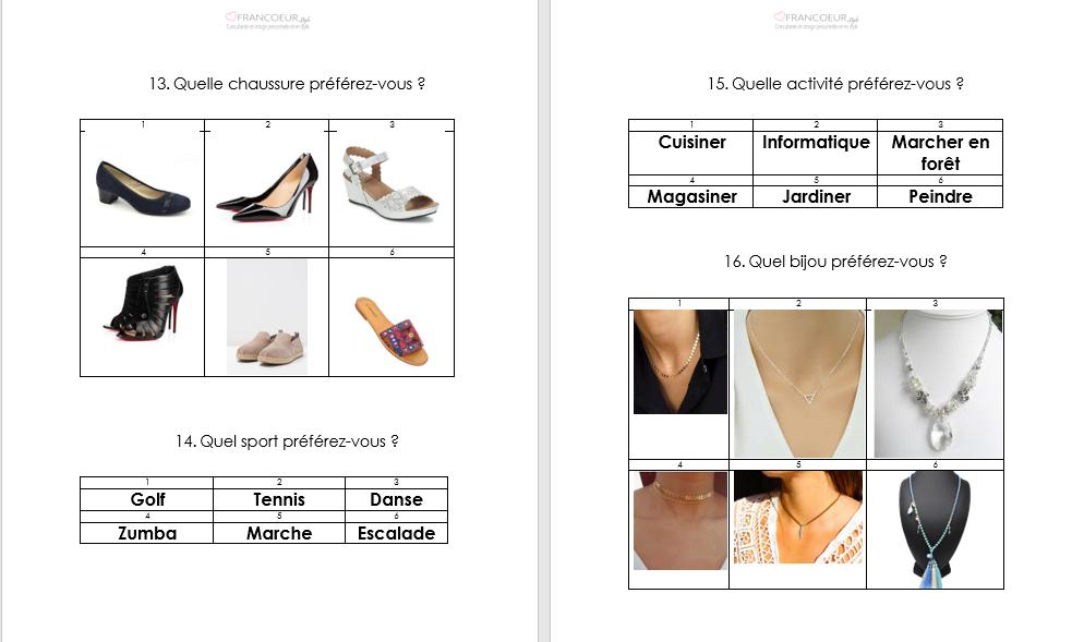 Exemple de questions dans une étude de style. Choix de chaussures, sports, activité et bijoux