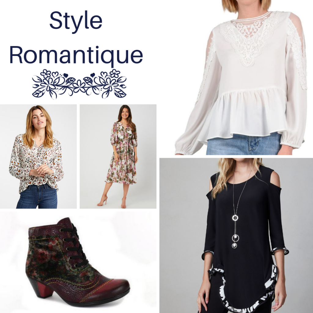 Style romantique, blouse à basques et dentelle blanche, blouse fleurie à fond blanc, robe midi fleurie tissu vaporeux, bottillon à fleurs bourgogne, tunique noire à froufrous et épaules ajourées