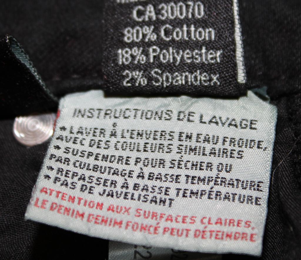 Étiquette des instructions de lavage pour les jeans extensibles