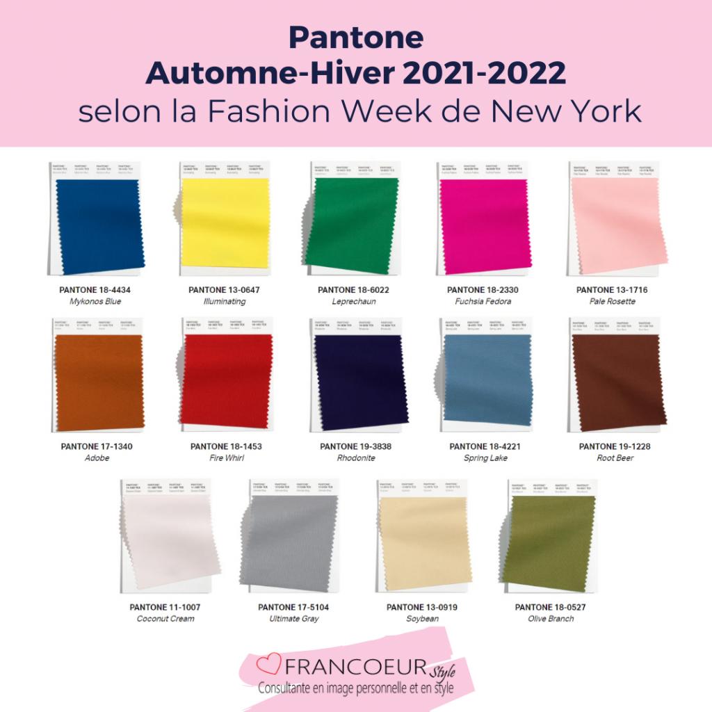 Couleurs Pantone Automne-Hiver 2021-2022 NY